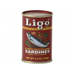 Sardines in tomato sauce chili added 155g Ligo